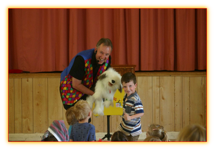 Dennis the Dog at a School's Magic Show